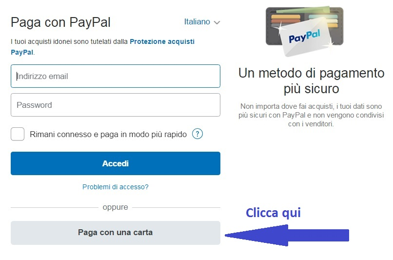 scegli se pagare con paypal o carte di credito
