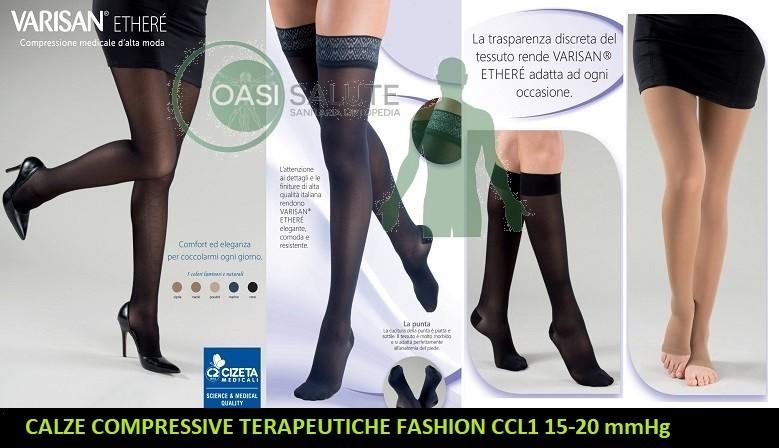 Varisan Etherè linea di calze compressive medicali di alta moda con compressione pari a 15-20 mmHg