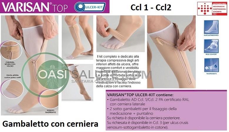 gambaletto con cerniera a compressione graduata 1a e 2a classe di compressione per ulcere (ulcer kit)